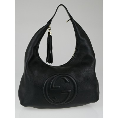 Gucci Black Pebbled Leather Soho Hobo Bag