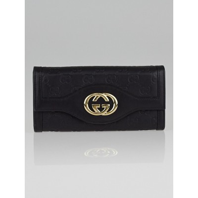 Gucci Black Guccissima Leather Interlocking G Continental Wallet