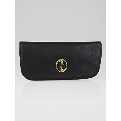 Gucci Black Leather 1973 Clutch Evening Bag