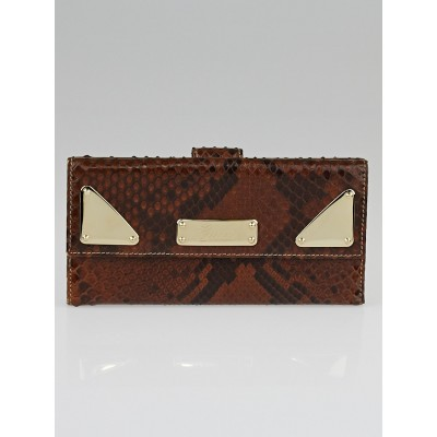Gucci Brown Python Indy Continental Long Wallet