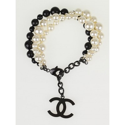 Chanel Glass Pearl and Beaded CC Bracelet