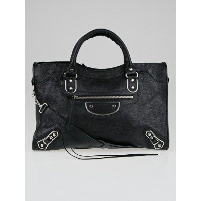 Balenciaga Black Grained Chevre Leather Metallic Edge Motorcycle City Bag