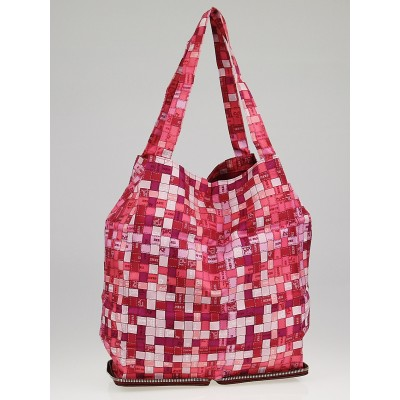 Hermes Pink Bolduc au Carre Silk Marwari Le Sac Silky Pop Tote Bag