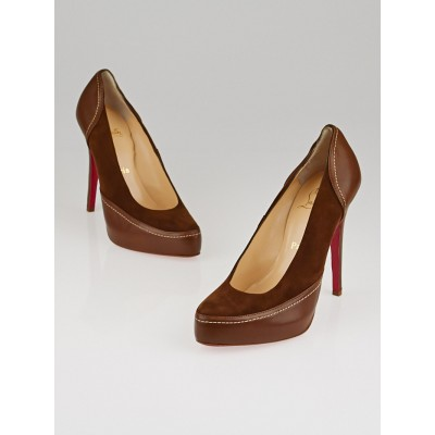 Christian Louboutin Brown Suede/Leather Suefe Defil 120 Pumps Size 10/40.5
