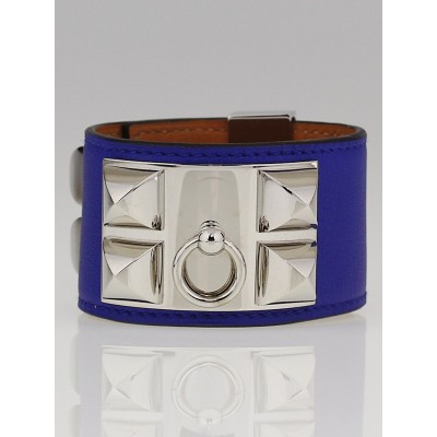 Hermes Electric Blue Swift Leather Palladium Plated Collier de Chien Bracelet
