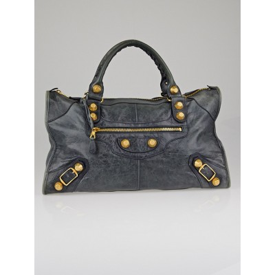Balenciaga Anthracite Chevre Leather Giant 21 Gold Work Bag