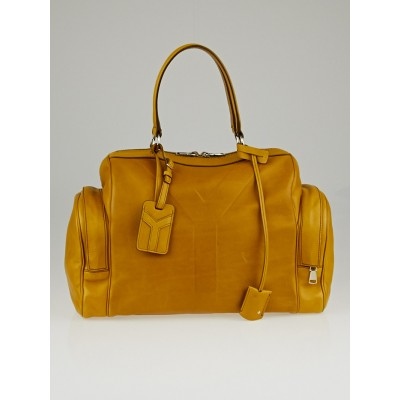 Yves Saint Laurent Mustard Calfskin Leather Vanity Bowler Bag