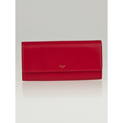 Celine Magenta Lambskin Leather Flap Wallet