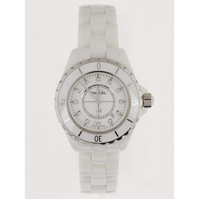 Chanel White J12 Ceramic and Diamonds 33mm Quartz Watch