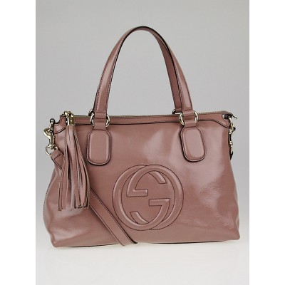Gucci Beige Soft Patent Leather Soho Top Handle Bag