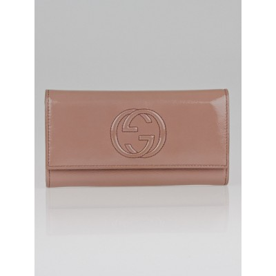 Gucci Beige Patent Leather Soho Long Flap Wallet