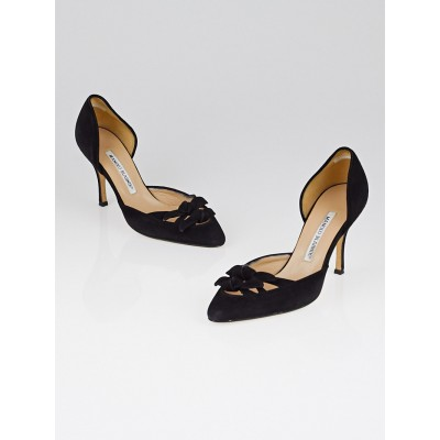 Manolo Blahnik Black Suede Bow Pumps Size 6/36.5