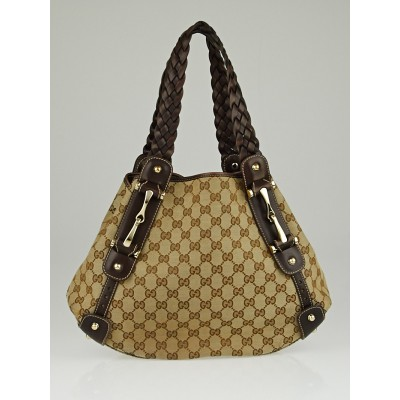 Gucci Beige/Ebony GG Canvas Small Pelham Shoulder Bag