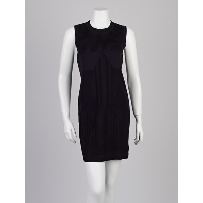 Chanel Black Sleeveless Ribbed Sweater Dress Size 8/42