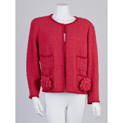 Chanel Rose Wool Boucle Jacket Size 16/48