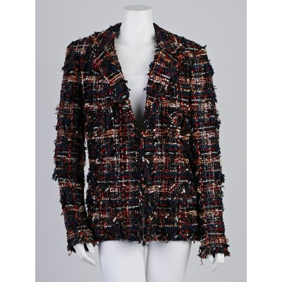 Chanel Blue Multicolor Boucle Tweed Jacket Size 14/46