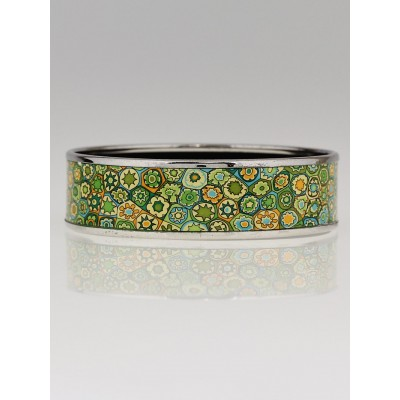 Hermes Green Enamel Palladium Plated Printed Millefiori Wide Bangle Bracelet Size 70