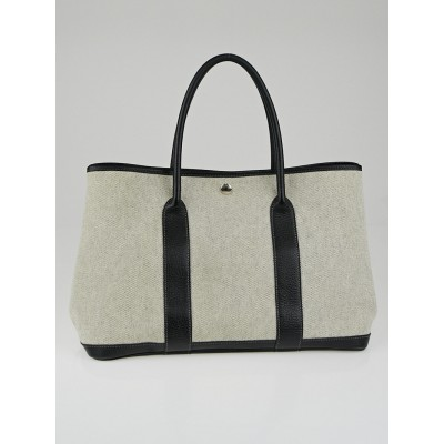 Hermes Natural Linen/Black Buffalo Leather Garden Party MM Tote Bag