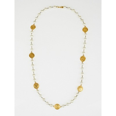 Chanel Vintage Faux Pearl and Coin Long Necklace
