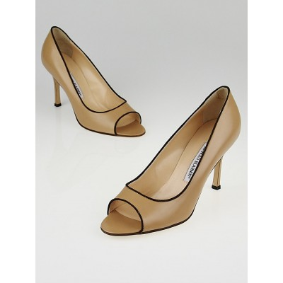 Manolo Blahnik Nude Leather Canazza Peep Toe Pumps Size 9/39.5