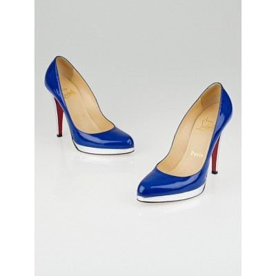 Christian Louboutin Blue/Silver Patent Leather Decollete Zeppa Pumps Size 6.5/37