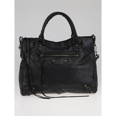 Balenciaga Black Lambskin Leather Velo Bag