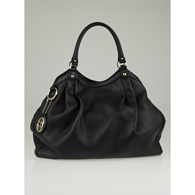 Gucci Black Pebbled Calfskin Leather Large Sukey Tote Bag