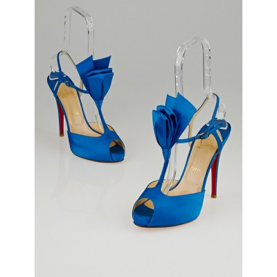 Christian Louboutin Blue Satin Ernesta Bow 120 T-Strap Pumps Size 9.5/40