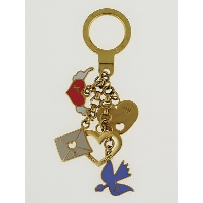 Louis Vuitton Goldtone Chain Love Birds Message Key Holder