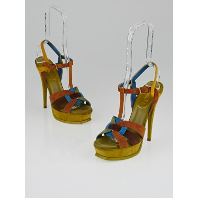 Yves Saint Laurent Multicolor Light Anis Suede Tribute 105 Sandals Size 7.5/38