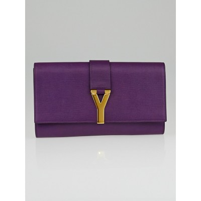 Saint Laurent Purple Calfskin Leather Ligne Y Clutch Bag