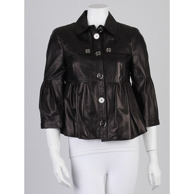 Burberry Black Lambskin Leather Rosemarket Peplum Jacket Size 6