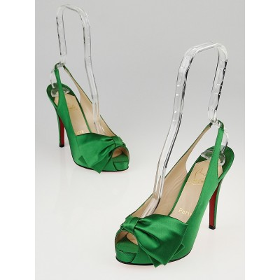 Christian Louboutin Green Satin Very Noeud Peep-Toe Pumps Size 6/36.5