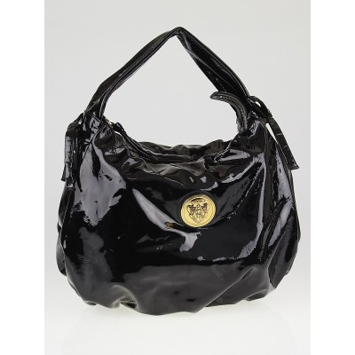 Gucci Black Patent Vinyl Hysteria Hobo Bag