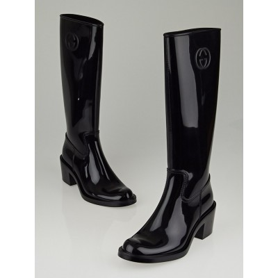 Gucci Black Rubber Interlocking GG Rain Boots Size 6.5/37