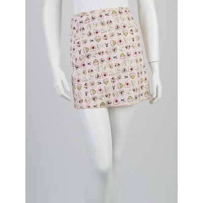 Chanel Pink Cotton Blend Heart Charms Mini Skirt Size 10/42