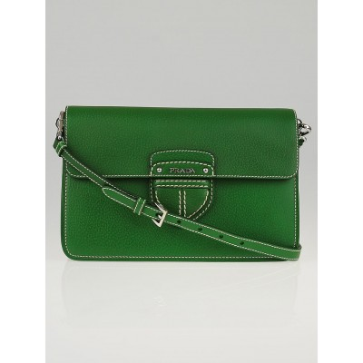 Prada Verde Cinghiale Leather Flap Messenger Bag BT0783