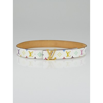 Louis Vuitton White Monogram Multicolore Studded Initiales Belt Size 90/36