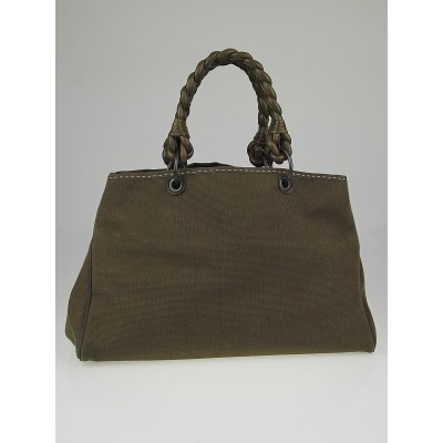 Bottega Veneta Olive Canvas Large Shopper Tote Bag