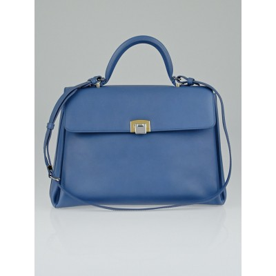Balenciaga Blue Calfskin Leather Le Dix Bag