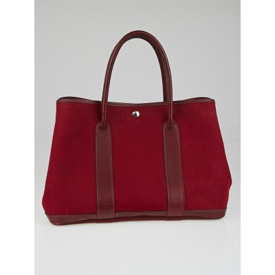 Hermes Rouge Imperial Canvas Garden Party MM Bag
