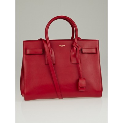 Saint Laurent Red Calfskin Leather Classic Small Sac de Jour Bag