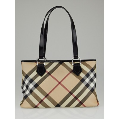 Burberry Black Patent Leather Supernova Check Coated Canvas Tote Bag