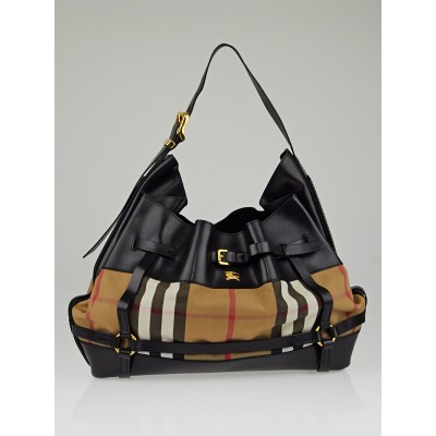Burberry Black Leather Bridle House Check Canvas Hobo Bag