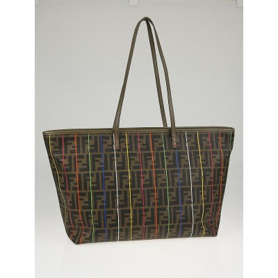 Fendi Tobacco Zucca Print Multicolor Stripe Coated Canvas Medium Roll Tote Bag