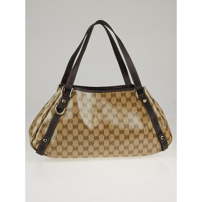 Gucci Beige/Ebony GG Crystal Abbey Medium Tote Bag