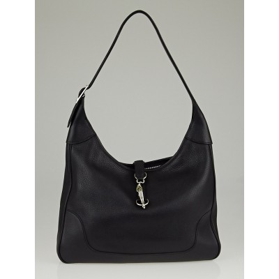 Hermes 35cm Black Clemence Leather Trim II Bag