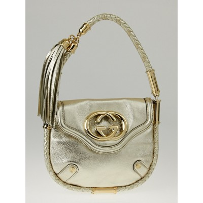 Gucci Gold Leather Small Britt Shoulder Bag