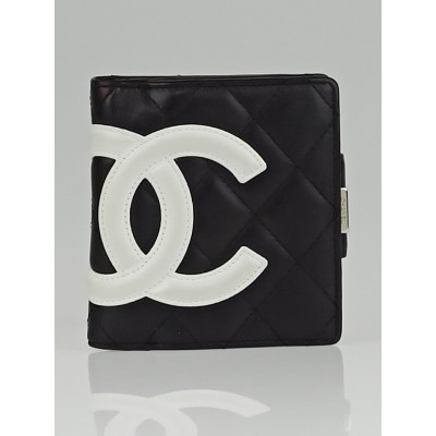Chanel Black Quilted Ligne Cambon Compact French Purse Wallet