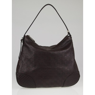 Gucci Ebony Guccissima Leather Bree Original Hobo Bag